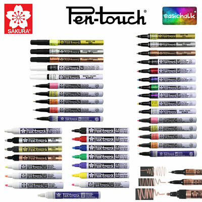 Sakura Pen Touch Paint Marker Pen for Art Plastic Wood Metal 3 sizes 10 colours