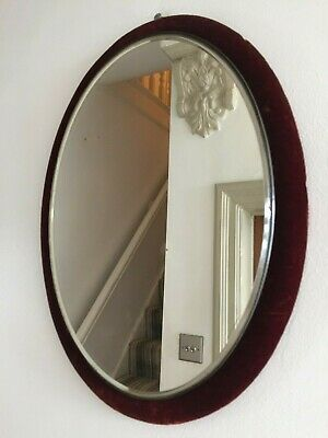 Antique Red Velvet Wall Mirror Victorian Edwardian Oval Vertical 41x30cm m202