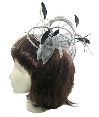 Fascinator in silver grey and black feathers on a comb, Weddings, Races, Ladies