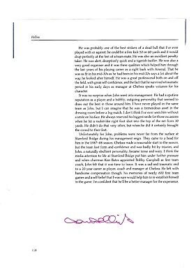 John Hollins Chelsea Original Football Autograph Annual Page With Profile
