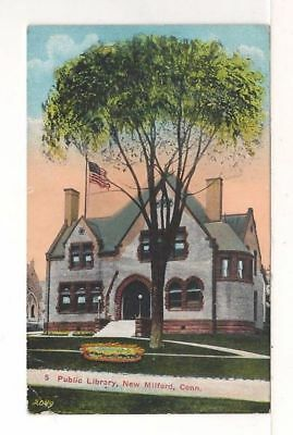 1917 Postcard: Public Library – New Milford, Connecticut