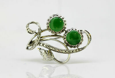 Vintage 18k white gold brooch with natural jade, Circa 1950's