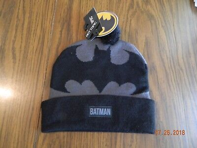low priced 4d490 21b72 NWT- DC Comics Batman Logo Beanie with pom pom by Hot Topic
