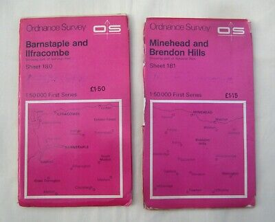 Barnstable and Ilfracombe  &  Minehead and Brendon Hills  Ordnance Survey  Maps