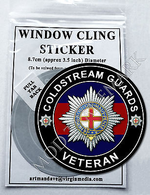 COLDSTREAM GUARDS VETERAN WINDOW CLING STICKER  8.7cm Diameter