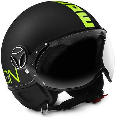Casco Momo Design Classic Black Matt - Yellow Fluo Taglia Xl
