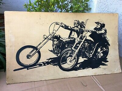 "Large Limited Edition Easy Rider Print G D Weldon 40""X23"" Motorcycle Fair Cond"