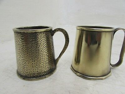 Two Vintage Miniature Solid Brass Tankards Ornaments Novelty
