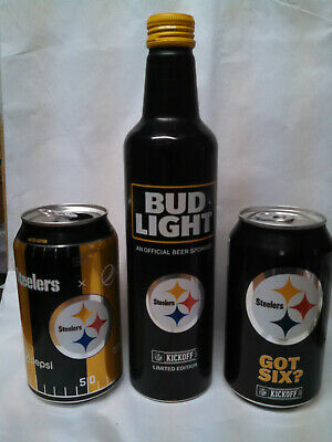 Nfl 2017 Pittsburgh Steelers Bud Light Beer Can Aluminum Bottle And Cans