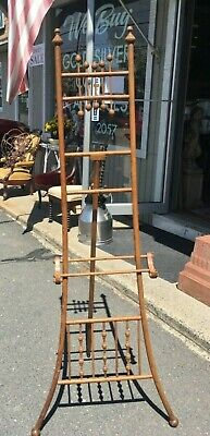Old Antique Victorian Stick & Ball Oak Wood Easel Stand Art Photo Picture