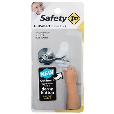 """Outsmart Toddler/Child Lever Handle Lock - White - 3""""x2""""x6"""" - Safety 1st - NWT"""