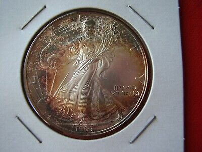 1995 American Silver Eagle Bu Premium Quality Gold & Bronze Toning On Front/back