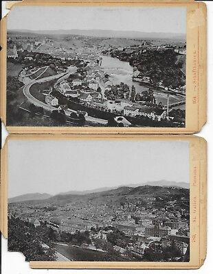 Set of 2 Switzerland City Views Cabinet Card Photos by Roepke - Great Detail