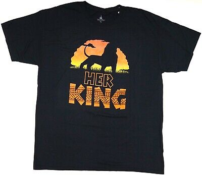 "New Disney Parks The Lion King Simba Silhouette ""Her King"" Couples T-Shirt"