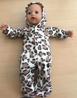 leopard print fleece sleepsuit to fit baby born/annabell or similar size doll