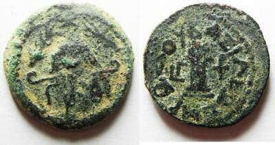 ZURQIEH -aS11635- AS FOUND: Judaea. Herod the Great 37 BC - 4 AD. AE 8 Prutot. S