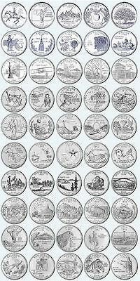 COMPLETE US 50 STATES QUARTER DOLLAR P or D MINTS COINS YEAR SETS 1999-2008
