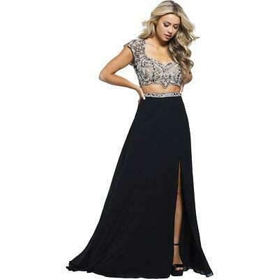 fa207ad3c62 JVN by Jovani Womens 48486A Black Prom Two Piece Crop Top Dress Gown 2 BHFO  4515