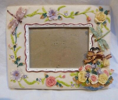 """White Ceramic Picture Photo 4""""x 3"""" Frame 7.5 """"X 6"""" Floral Dragonfly"""
