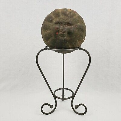 """Vintage Hollow Iron Ball with Face and Sunburst Design 5"""" Diameter with Stand"""
