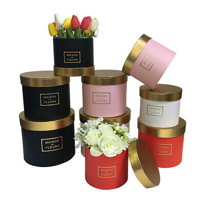 Handheld Bouquet Flower Round Boxes Living Vases Florist Box set of 3