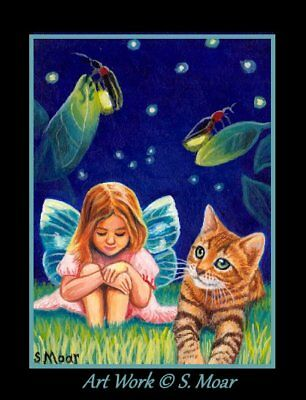 Bengal Kitten Cat Fairy Girl Firefly Fantasy ACEO Limited Edition Art Print