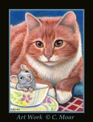 Orange Tabby Cat Mouse Mice Tea Cup Friends ACEO Limited Edition Art Print
