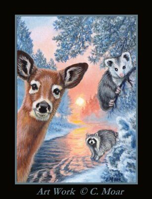 Deer Raccoon Baby Opossum Winter Brook Forest Sun ACEO Limited Edition Art Print