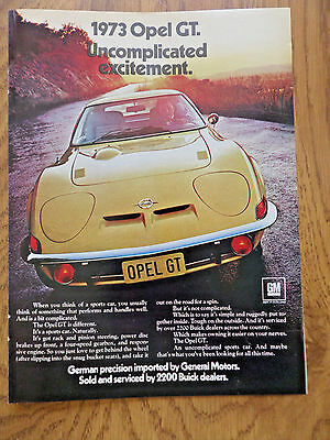 1973 gm buick opel gt sports car ad