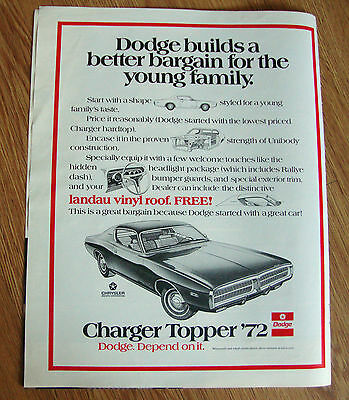 1972 Dodge Charger Topper Ad