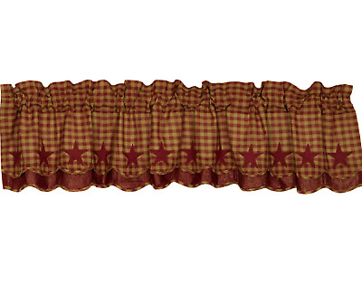 BURGUNDY STAR LAYERED WINDOW VALANCE Scalloped Edge Farmhouse Country Appliqued