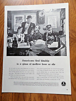 1941 Beer Ale Ad  Americans Find Kinship in a Glass of Mellow Beer