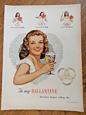 1948 Ballantine Ale Ad  America's Largest Selling Ale  Purity Body Flavor