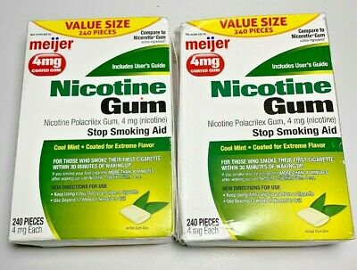 Meijer Nicotine Gum 4 MG Coated Cool Mint 240 Pieces 04/2019 Quit Smoking 2 Pack