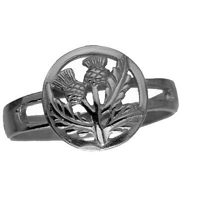 LOOK New Celtic Thistle shamrock Real genuine Sterling Silver .925 Ring Jewelry