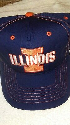 competitive price 0eafe f3d89 Vintage University Of Illinois Snapback Hat Fighting Illini Blue Orange Cap