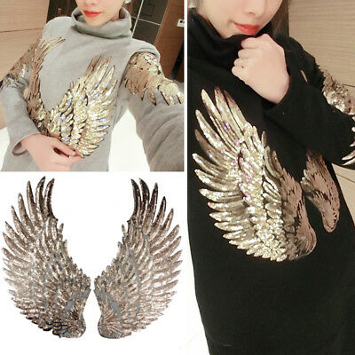 Iron-On Angel Wings Paste Cloth Feather Sequin Patch Embroidery Clothes Decor
