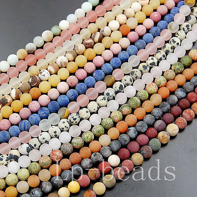 """Popular Matte Frosted Natural Gemstones Mixed Round Loose Beads 15""""6mm 8mm"""