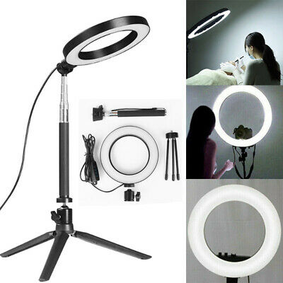 "6"" 58Pcs LED Ring Light Dimmable 5500K for SmartPhone/Camera with Light Stand US"