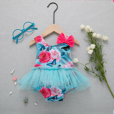 e7aa21d4cf7a3 2019 Kids Baby Girl Swimwear Bikini One-Piece Flower Bow Beach Bathing  Swimsuit