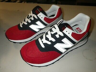 f8a2e553740bf NEW BALANCE 574 PEBBLED ML574SRF Size 12 RED/PIGMENT NAVY BLUE/WHITE/GREY