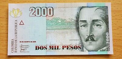 COLOMBIA 2000 Pesos 30 August 2008 P457 UNC Banknote