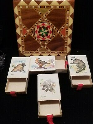 Vintage Marquetry Inlaid Bone China Wood Striker with RARE Match Boxes (Swiss)
