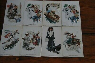An American Girl in.. 8 old glamour type Postcards c1910 by Reinthal & Newman NY