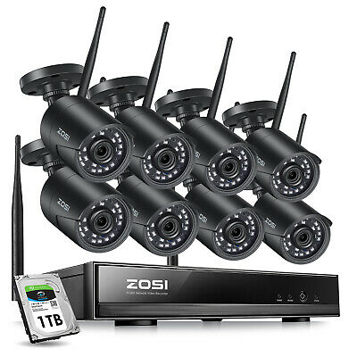 ZOSI  8CH 1080p NVR  HD Outdoor WIFI Wireless IP Security Camera System 1TB HDD