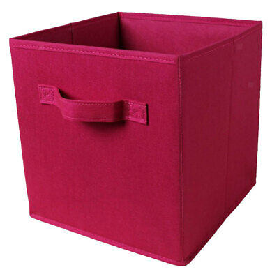 Fabric Foldable Storage Cubes Cubby Organizer Box Basket Container Wine Red