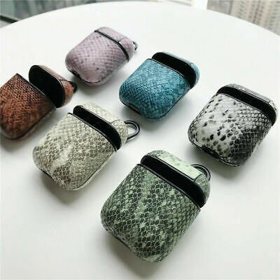 Snake Skin Leather Protective Shockproof Case Cover For Apple AirPods