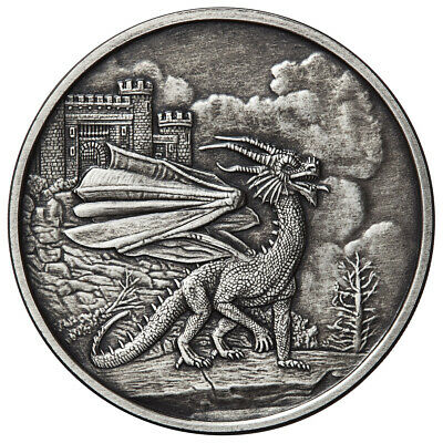 1 Oz Silver Coin Celtic Lore Antique Red Welsh Dragon 3Rd Release Anonymous Mint