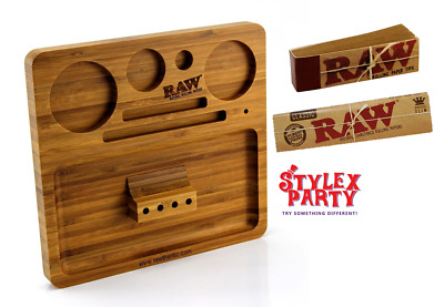 Raw Rolling Tray Wooden Deluxe & Classic Rolling Papers Smoking RAW Filter Tips