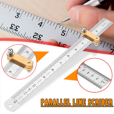 Parallel Line Scribe Ruler 300mm Woodworking Marking Positioning Measuring Tool